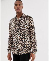 ASOS - Regular Fit Shirt In Leopard Print - Lyst