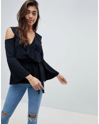 ASOS - Belted Wrap Top With Ruffle Cold Shoulder - Lyst