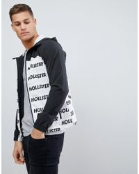Hollister - Unlined Lightweight Hooded Jacket With Black & White Print Logo - Lyst