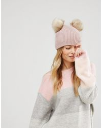 ASOS - Rib Beanie With Double Faux Fur Pom - Lyst