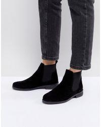 Office - Jamie Black Suede Flat Chelsea Boots - Lyst