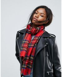 Johnstons - Of Elgin Merino Classic Check Scarf In Red - Lyst