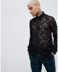 ASOS - Design Festival Regular Fit V Neck Lace Shirt - Lyst