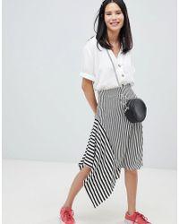Monki - Mixed Stripe Midi Skirt - Lyst