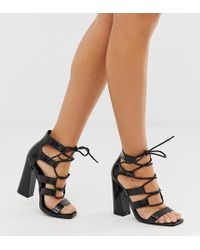 Missguided Lace Up Block Heel Sandal In Black Croc