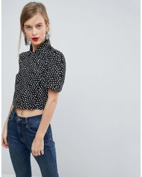 ASOS - Cropped Blouse With 40s Detail In Polka Dot - Lyst