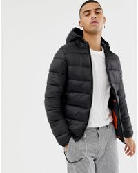 Bershka - Hooded Puffer Jacket In Black - Lyst