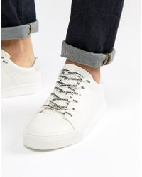 Pull&Bear - Trainers With Slogan Laces In White - Lyst