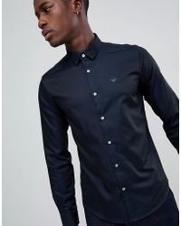 Emporio Armani - Slim Fit Two Tone Sateen Shirt In Navy - Lyst