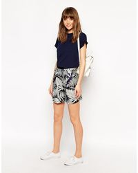 Le Mont St Michel | Silk Mix Shorts In Tree Print | Lyst