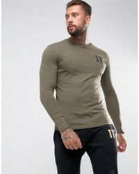 11 Degrees - Long Sleeve T-shirt In Khaki With Logo - Lyst