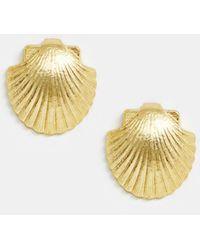 Mango - Shell Earrings In Gold - Lyst