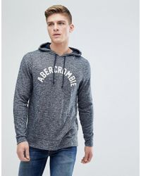 Abercrombie & Fitch | Large Flock Logo Hoodie In Navy | Lyst
