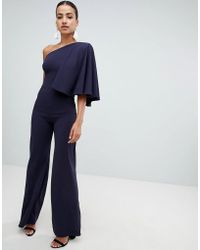 Club L - One Shoulder Jumpsuit With Cape Sleeve - Lyst