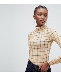 9d7f368a31ad9 Lyst - ASOS Kimono Crop Top With Obi Tie Back In Grid Print in White