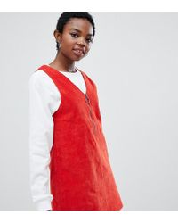 Noisy May Petite - Corduroy Pinnafore Dress - Lyst