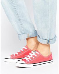Converse - Canvas Chuck Taylor All Star Dainty Trainers In Coral - Lyst