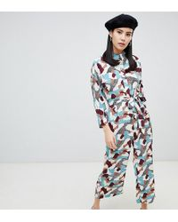 Monki - Belted Button Up Camo Print Jump Suit - Lyst