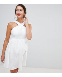 b054abdc1223 ASOS Crochet Dress With Off Shoulder in White - Lyst