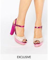 Terry De Havilland - Coco Pink Glitter Platform Heeled Sandals - Lyst