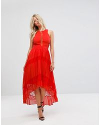 Adelyn Rae - Irina Pleated Lace Insert Maxi Dress - Lyst
