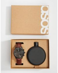 ASOS - Gift Set With Watch And Hip Flask In Matte Black - Lyst
