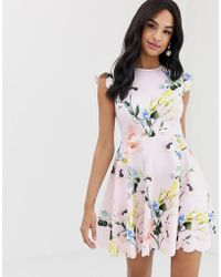 6b4d90919 Ted Baker Natleah Scallop Detailed Dress Baby Pink in Pink - Lyst