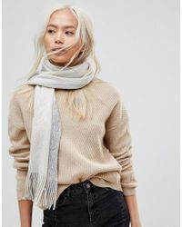 French Connection - Oversized Colourblock Grey Scarf - Lyst