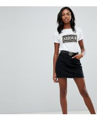 Missguided - Denim Mini Skirt In Black - Lyst