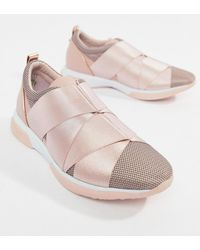 Ted Baker - Strap Detail Light Pink Sporty Trainers - Lyst