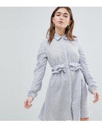 Lost Ink - Shirt Dress In Seersucker With Frill Waist - Lyst