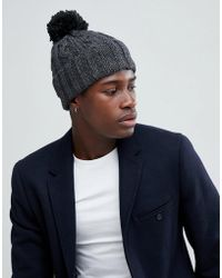 French Connection - Cable Knit Contrast Bobble Beanie - Lyst