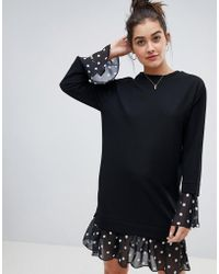 ASOS - 2 In 1 Sweat Dress With Spot Hem And Cuff - Lyst