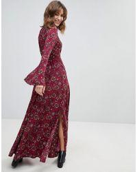 Band Of Gypsies - Retro Bell Sleeve Maxi Dress - Lyst