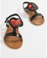Love Moschino - Heart Flat Sandals - Lyst