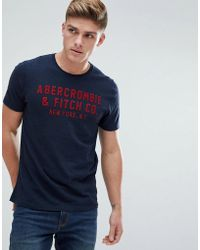 Abercrombie & Fitch - Large Flock Logo Applique T-shirt In Navy - Lyst