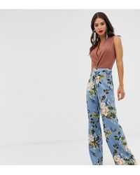 Missguided Satin Wide Leg Trousers In Floral Print