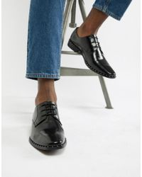 Dune - Brogues In Black Hi-shine Leather With Studs - Lyst