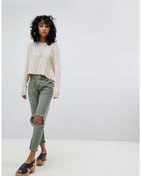 One Teaspoon - Freebirds Highwaisted Skinny Jean With Exposed Knees And Raw Hem - Lyst