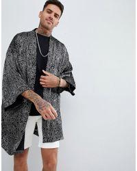 ASOS - Festival Kimono In Paisley Burnout Print Shirt In Grey - Lyst