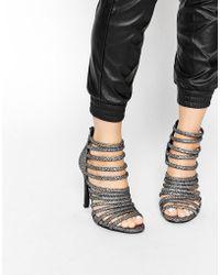 Pieces - Foil Multi Strap Heeled Sandals - Lyst