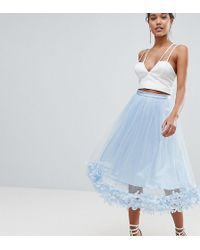 PrettyLittleThing - 3d Floral Tulle Skirt - Lyst