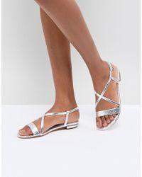 Dune - Flat Sandal In Metallic Silver - Lyst