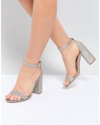 London Rebel - Barely There Block Heel Sandal - Lyst