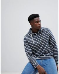 Casual Friday - Overhead Hoodie With Buttons In Stripe - Lyst