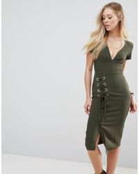 ASOS - Asos Midi Dress With Lace Up - Lyst