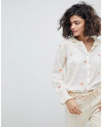 INTROPIA - Buttondown Blouse With Embroidered Bouquets - Lyst