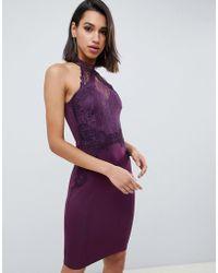 Lipsy High Neck Lace Bodycon Dress In Purple