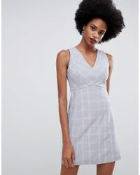 Oasis - Tailored Shift Dress With V-neck In Check - Lyst