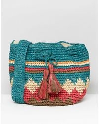 Hat Attack - Multi Print Straw Drawstring Bag - Lyst